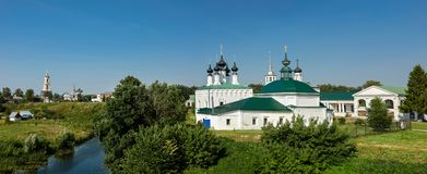 Panorama of the historical center of Suzdal. Vladimir region, Russia. Panorama of the historical center of Suzdal located on the banks of Kamenka river royalty free stock photos