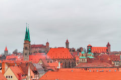 Panorama of the historical City of Nuremberg in Bavaria Stock Image
