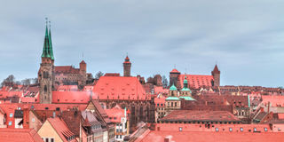 Panorama of the historical City of Nuremberg in Bavaria Royalty Free Stock Photo