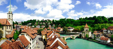 Panorama of historical old town city Bern Stock Photography