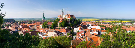 Panorama of historical town Mikulov - Czech Republic Royalty Free Stock Image