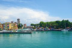 Panorama of historical town of Sirmione located in Lake Garda, Northern Italy royalty free stock photo