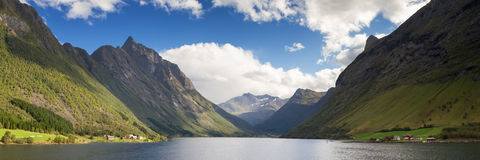 Panorama of the Hjorundfjord Stock Photography