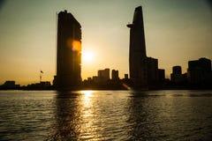 Panorama of Ho Chi Minh viewed over Saigon river Stock Photography