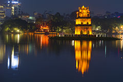 Panorama of Hoan Kiem lake with the Turtle tower in the foreground. Night Hanoi Stock Photography