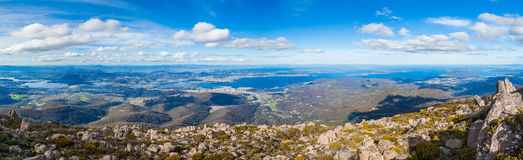 Panorama of Hobart from Mount Wellington, Tasmania. Panoramic view of Hobart from Mount Wellington Lookout. Tasmania, Australia Royalty Free Stock Photography
