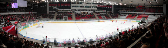 Panorama of hockey stadium Stock Photo