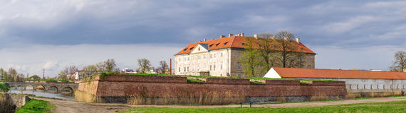 Panorama of Holic castle in small town in Slovakia. Royalty Free Stock Images