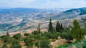 Panorama of Holy Land from Mount Nebo in winter Stock Photo