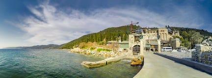 Holy Monastery landscape, Mount Athos. Panorama of Holy Monastery landscape, Mount Athos Royalty Free Stock Photos