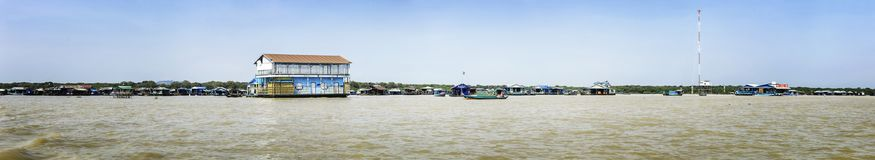 Panorama of Homes on stilts on the floating village of Kampong Phluk, Tonle Sap lake, Siem Reap province, Cambodia Royalty Free Stock Photo