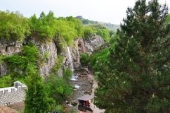Panorama of Honey Waterfalls on a sunny day in Karachay-Cherkessia, Caucasus, Russia. View from above stock image