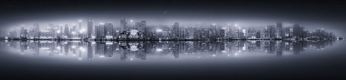 Panorama of Hong Kong, black and white Royalty Free Stock Images
