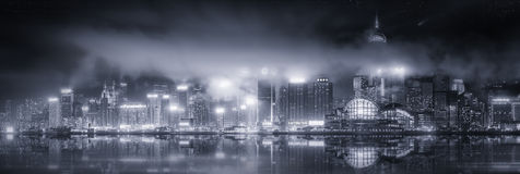 Panorama of Hong Kong, black and white Stock Photos