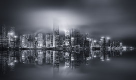 Panorama of Hong Kong, black and white Stock Photo