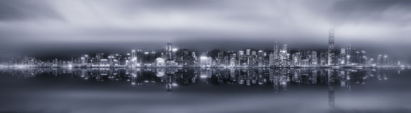 Panorama of Hong Kong, black and white Royalty Free Stock Photos
