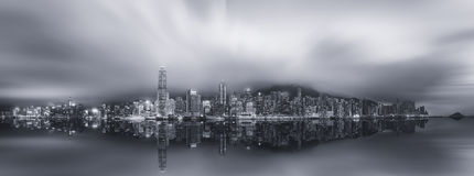 Panorama of Hong Kong, black and white Stock Image