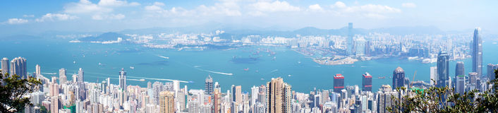 Panorama Hong Kong för flyg- sikt Royaltyfria Bilder