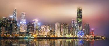 Panorama of Hong Kong and Financial district Royalty Free Stock Photo