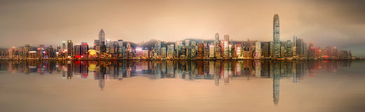 Panorama of Hong Kong and Financial district. Panorama of Hong Kong island, skyline and Financial district, China Stock Image