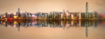 Panorama of Hong Kong and Financial district Stock Images