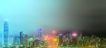 Panorama of Hong Kong and Financial district Royalty Free Stock Image