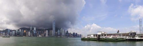 Panorama Hong Kong gwiazdy i linii horyzontu promy Fotografia Royalty Free