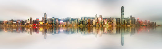 Panorama Hong Kong i Pieniężny okręg Zdjęcia Stock