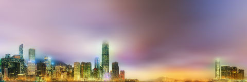 Panorama Hong Kong i Pieniężny okręg Zdjęcie Stock