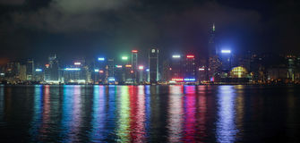 Panorama of Hong Kong Island from Kowloon at night time Royalty Free Stock Photography