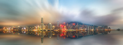 Panorama of Hong Kong island, skyline and Financial district Royalty Free Stock Photos