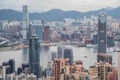 Panorama Hong Kong, Kowloon i Wiktoria schronienie, Hong Kong zdjęcia stock