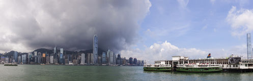 Panorama of Hong Kong Skyline and Star Ferries Royalty Free Stock Photography