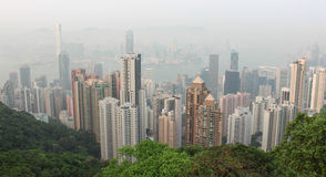 Panorama of Hong Kong from Victoria Gap, near the top of Victori Royalty Free Stock Images
