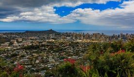 Panorama of Honolulu downtown and Diamond Head volcano in Hawaii Royalty Free Stock Photo
