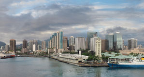Panorama of Honolulu at Sunset Stock Photography