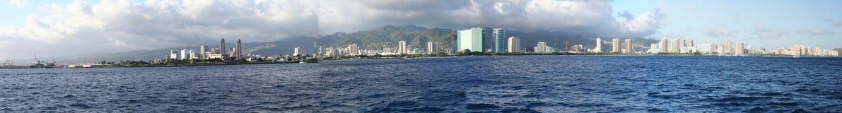 Panorama of Honolulu/Waikiki. A panorama of honolulu/waikiki from the ocean Royalty Free Stock Photo