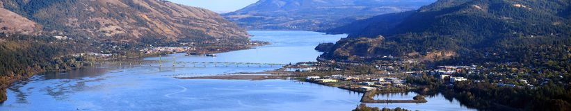 Panorama of Hood River & White Salmon bridge OR. Royalty Free Stock Images