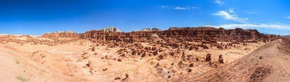 Panorama of Hoodoo Rock pinnacles in Goblin Valley State Park Utah USA Royalty Free Stock Images