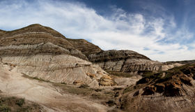 Panorama of Hoodoos near Alberta - Canada Royalty Free Stock Photo