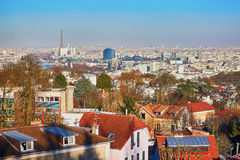 Panorama- horisont av Paris med den Eiffeltorn- och Sacre-Coeur domkyrkan Fotografering för Bildbyråer