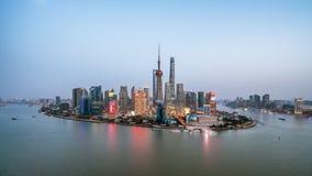 Panorama- horisont av Shanghai Royaltyfri Fotografi