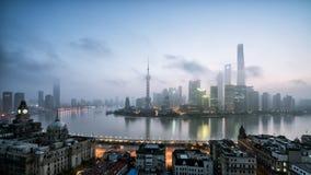 Panorama- horisont av Shanghai Royaltyfria Bilder