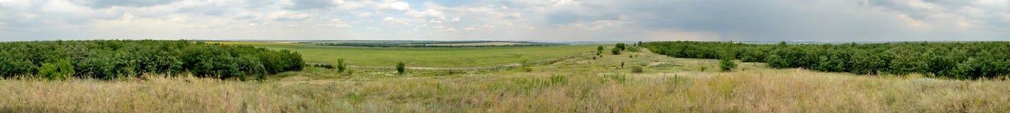Panorama horizontal de la estepa de Ucrania Fotografía de archivo libre de regalías