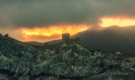 Panorama, horizontal eerie burning view of Crimean mountains wit Royalty Free Stock Photos