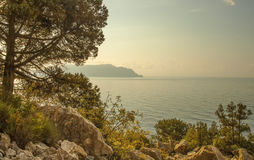 Panorama, horizontal view of bay, Crimean mountains with rocky c Royalty Free Stock Image