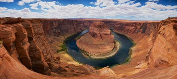 Panorama of Horseshoe Bend Royalty Free Stock Images