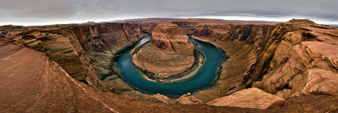 Panorama of Horshoe Bend in Page Arizona Stock Photo