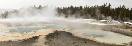 Panorama of hot springs in Upper Geyser Basin, Yellowstone Natio Stock Photos