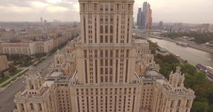 Panorama of hotel Ukraine stock video footage